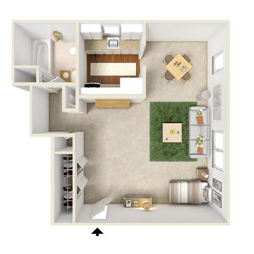 poplar gardens stuidio floor plan